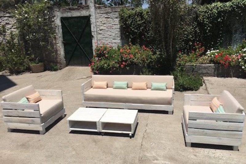 Juego de living de terraza de pallet sole terrazachic for Terrazas living