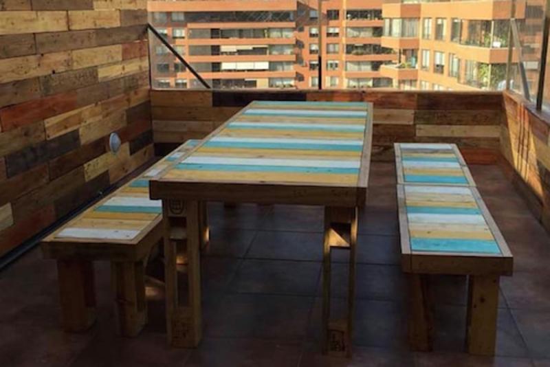 Juego de comedor de terraza de pallet terrazachic - Comedor terraza ...