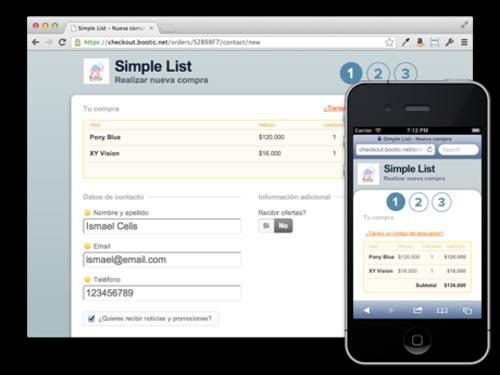 Diseño para móviles en pagians de checkout Bootic