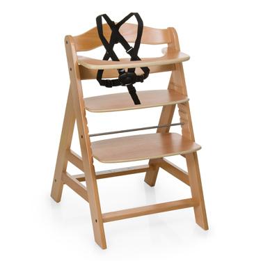 Silla de madera para comer alfa color natural maxicrece for Silla de bebe de madera